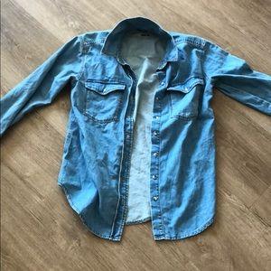 Topshop Chambray Oversized Shirt-4